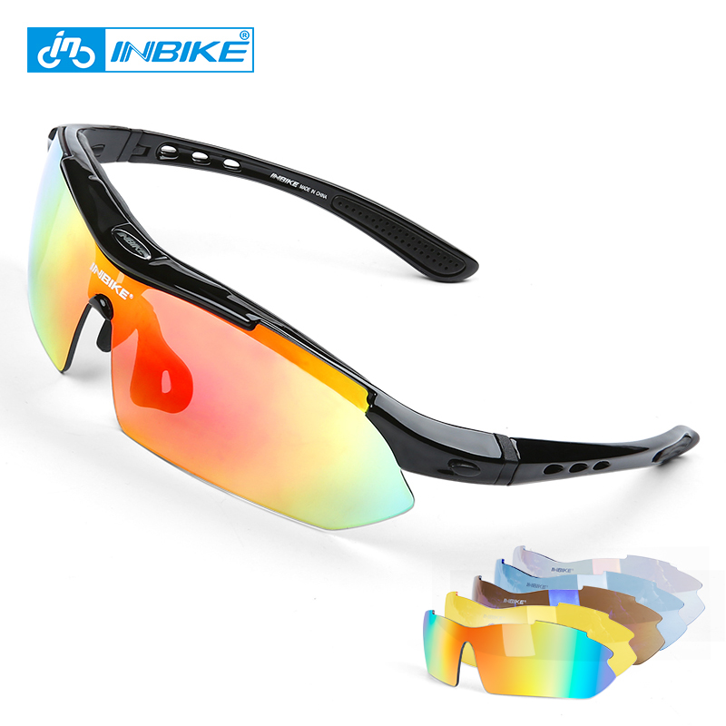INBIKE Cycling Glasses UV Proof Polarized 5 Lens Frame Eyewear Bike Bicycle Glasses Outdoor Sport Goggle Drive Sunglasses 619 two tone frame round lens sunglasses