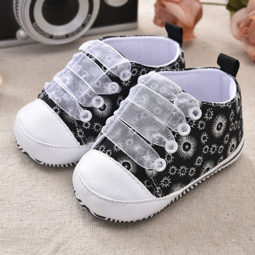 2017 Toddler Kids Baby Girls Printing Bandage Canvas Shoes Newborn Shoes