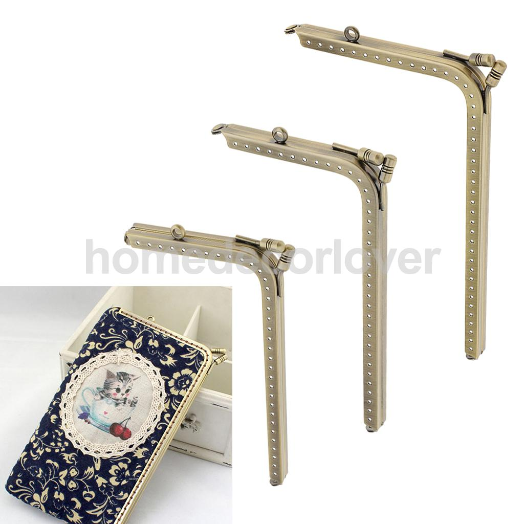 3 Pieces Bronze L Shaped Metal Purse Bag Making Frames with Kiss Clasps