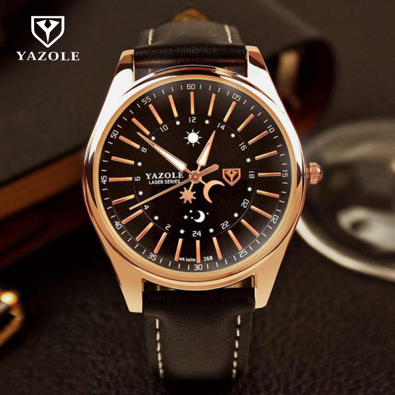 Luxury YAZOLE Brand Backlight Sun Moon Genuine Leather High Quality Quartz Wristwatches Wrist Watch Gift for Men Male No.368 100% original yazole luxury blue ray shockproof genuine leather round dial dress quartz wristwatch watch for men male no 332