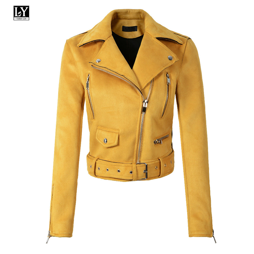 Ly Varey Lin Women   Suede   Motorcycle Jacket Army Green Turn-down Collar Short Design Zipper Soft Faux   Leather   Female Punk Jacket