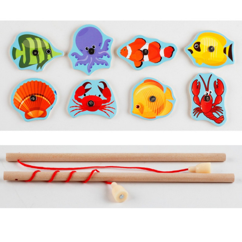 1 piece baby wooden Toys Magnetic Fishing Game Jigsaw Puzzle Board 3D Jigsaw Puzzle Children Education Toy for Children 2018 new