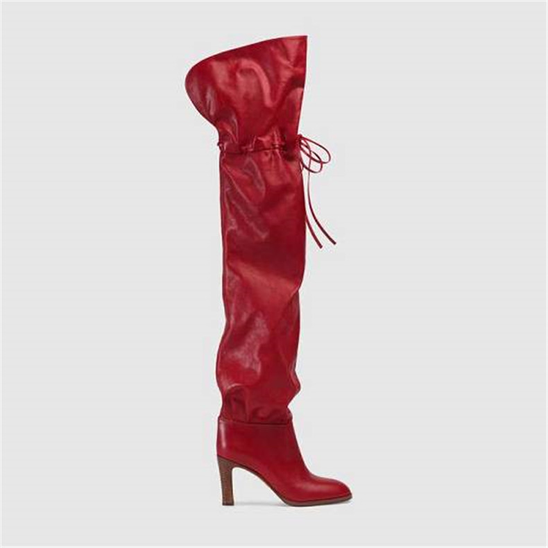 red pu leather thigh high boots women lace up high heels over knee boots sexy ladies shoes newest winter fashion Catwalk shoes sexy supermodels catwalk shoes super high heels shoes 20 cm cos props nightclub paris fashion boots