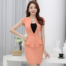 Plus Size 3XL 2017 Summer Elegant Women Ruffles Short Sleeve Skirt Suits Ladies Office Work Wear Blazer And Skirt 2 Piece Sets