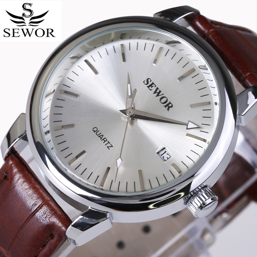Fashion SEWOR Watches Mens Self Wind Automatic Mechanical Watch AUTO Date Analog Leather Sport Men Wrist watch Relogio Masculino original binger mans automatic mechanical wrist watch date display watch self wind steel with gold wheel watches new luxury