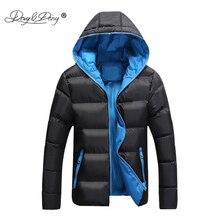DAVYDAISY 2019 ใหม่มาถึงผู้ชาย Parkas ผู้ชายฤดูหนาวแจ็คเก็ต Hooded Warm บางยี่ห้อแฟชั่นฤดูใบไม้ร่วงชายเสื้อ S 4XL JK082