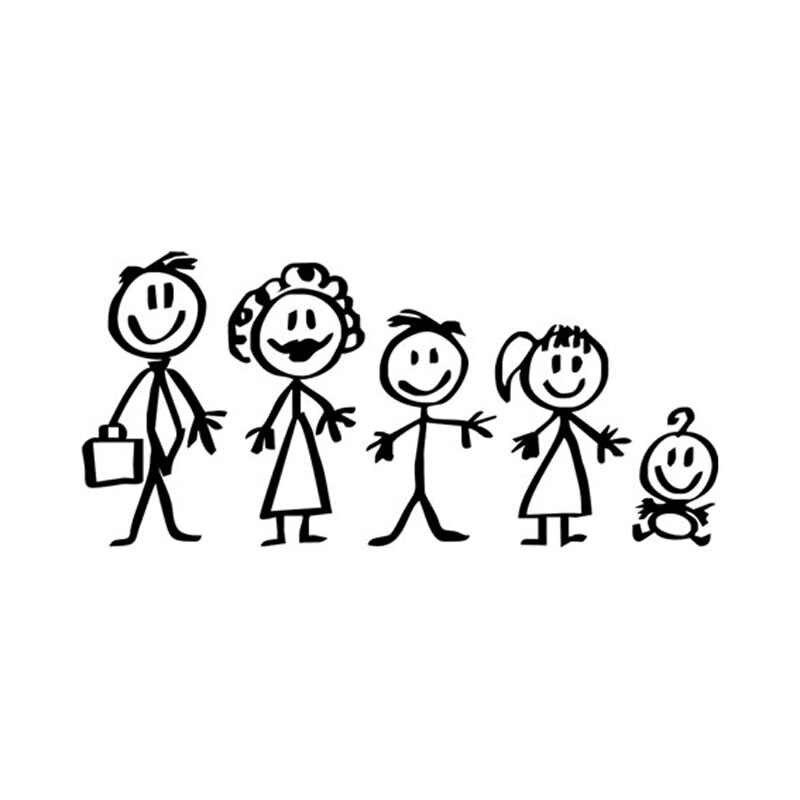 18 8 5 Cm Dibujos Animados Caliente Familia Coche Pegatinas Moda Vinilo Coche Accesorios Decorativos Negro Plata C7 1178