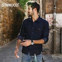 SIMWOOD 2017 New Spring Casual Denim Shirts Men Slim Fit Plus Size Brand Clothing CS1592