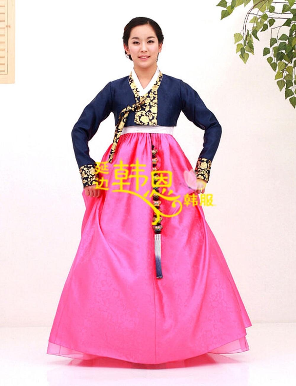 Hanbok Dress Custom Made Korean Traditional Woman Hanbok Bride Silk Dress