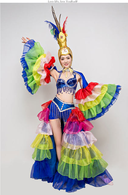 Online shop stage costumes for singers colorful sexy dance outfits stage costumes for singers colorful sexy dance outfits with bikini ostrich feather headpiece ancient chinese dance costumes solutioingenieria Gallery