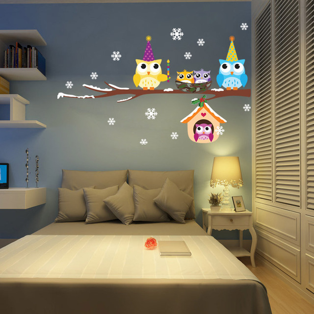 New Snow Owl Cartoon Christmas Tree Decorations Children S Bedroom Wall Stickers Vinyl Wallpaper Home Decor