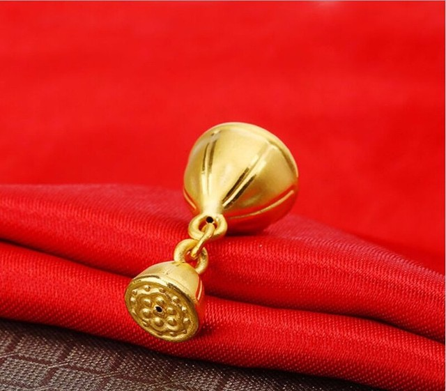 Authentic 24K Yellow Gold Pendant /Lucky Craved Belling Pendant/ 3.25g New