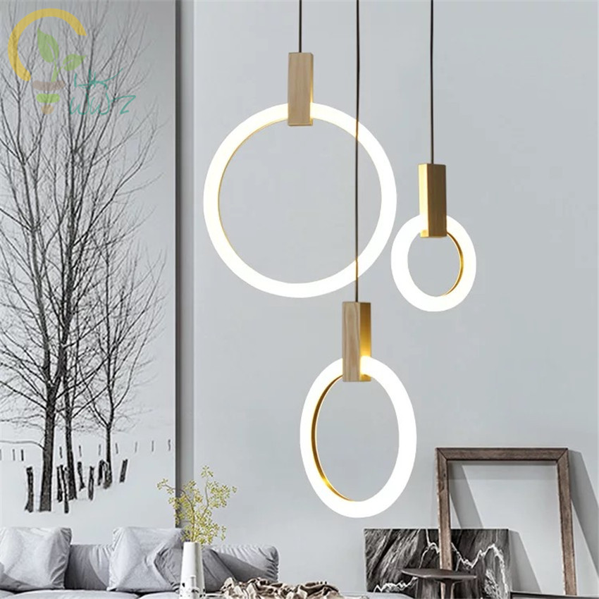 Modern Wood Led Pendant Lights For Lobby Dining Room Acrylic Ring Arts Decoration Lighting Antique Gold Suspension Pendant Lamp