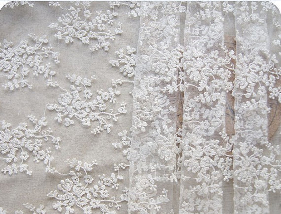 off white lace fabric with embroidered embroidery, bridal lace fabric - Arts, Crafts and Sewing