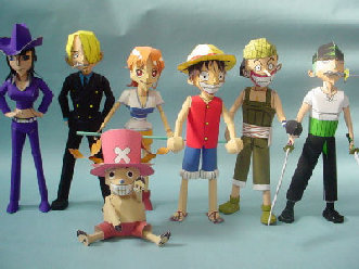3D Paper Model Anime One Piece 7 people group puzzles diy toys