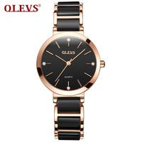 OLEVS 2018 Minimalist style Women Watches luxury Fashion Quartz Waterproof Montre Femme Ceramics Dress clock Relogio Masculino