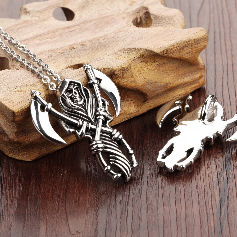 Punk skeleton pendant 16l stainless steel chain necklace punk skeleton pendant 16l stainless steel chain necklace personalized retro metal skull pendant for men boy fl972 in pendant necklaces from jewelry aloadofball Gallery