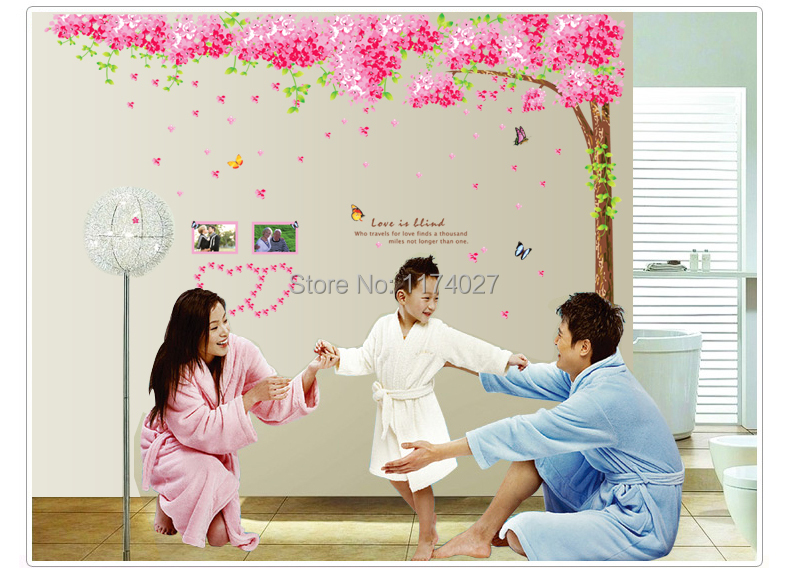 Romantic cherry blossom trees removable sitting , bedroom wall stickers Wedding room home decoration Free shipping