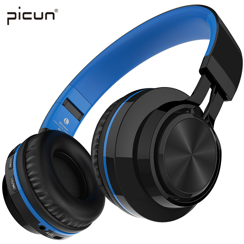 Picun BT-06 Bluetooth Headphones Wireless Stereo Headsets with Microphone support Memory Card FM Radio for Xiaomi iPhone  Gaming 100% brand bluedio h bluetooth headsets stereo wireless headphones mic micro sd port fm radio bt 4 1 over ear headphones