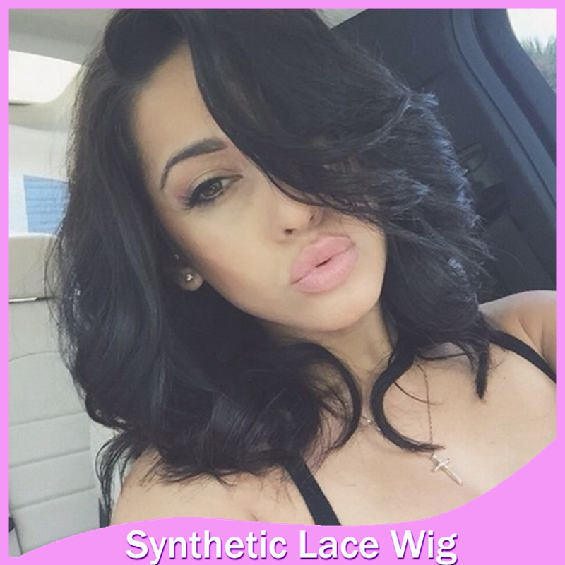 12 18 Natural Wavy Bob Wigs Synthetic Hair Lace Front None Lace