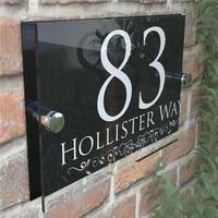 200x140mm personalizado número da casa sinal de porta números de endereço de rua placas de vidro moderno|Placas de porta|Renovação da Casa -