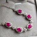 Старинные рубин драгоценный браслет 5 шт. 5 мм * 7 мм природный крови красный рубин серебряный браслет твердых стерлингового серебра 925 серебряный рубиновый браслет