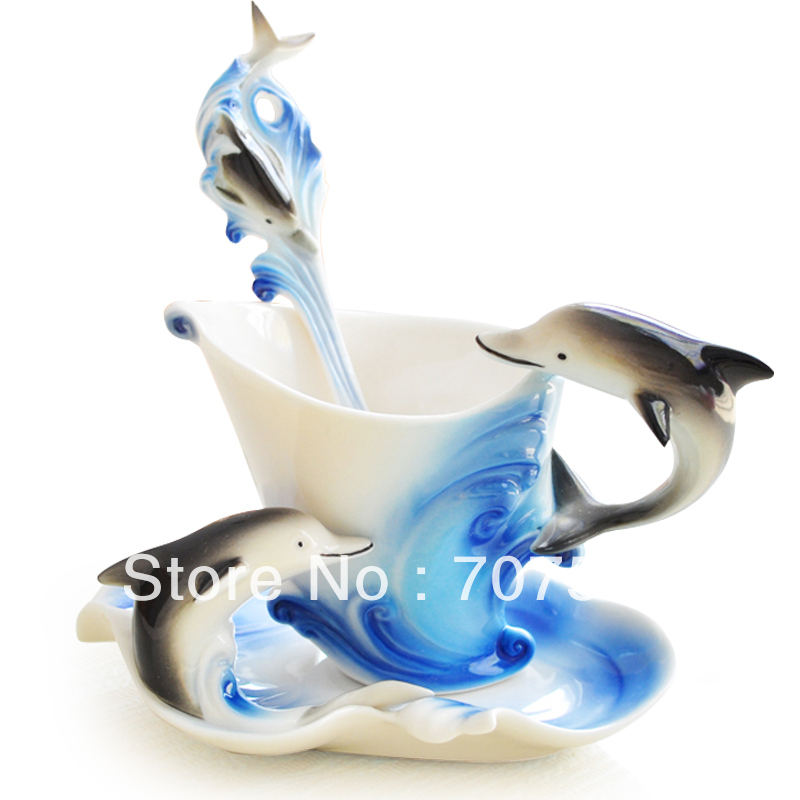 Dolphin Creative Gift Girlfriend Boyfriend Birthday Present Romantic Novelty Household Items Cup150ml Saucer Spoon In Cups Saucers From Home Garden