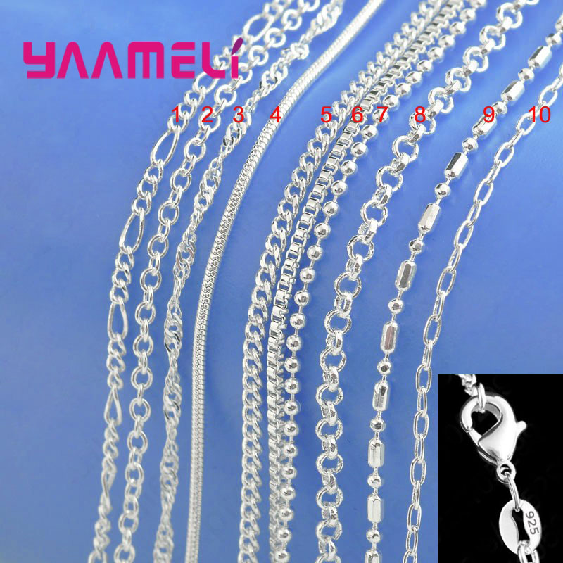 Authentic 925 Sterling Silver Chain Necklace with Lobster Clasps fit Men Women Pendant 10 Designs 16-30 Inch