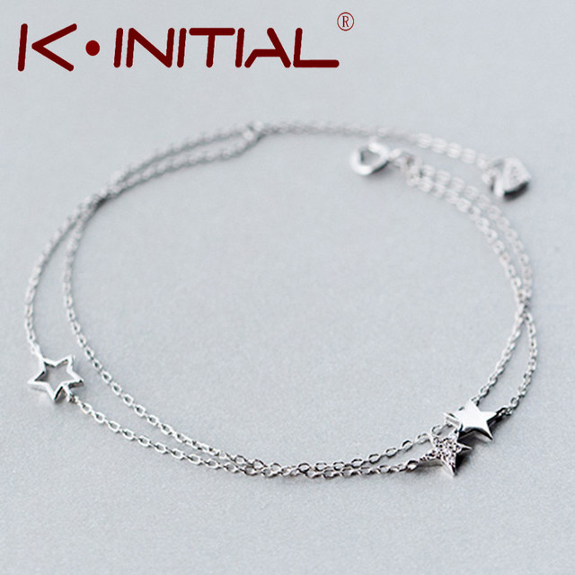Kinitial 1pcs 925 Silver Hollow Star Bracelets Bangles New Fashion Pentagram Bracelet For Women Cuff