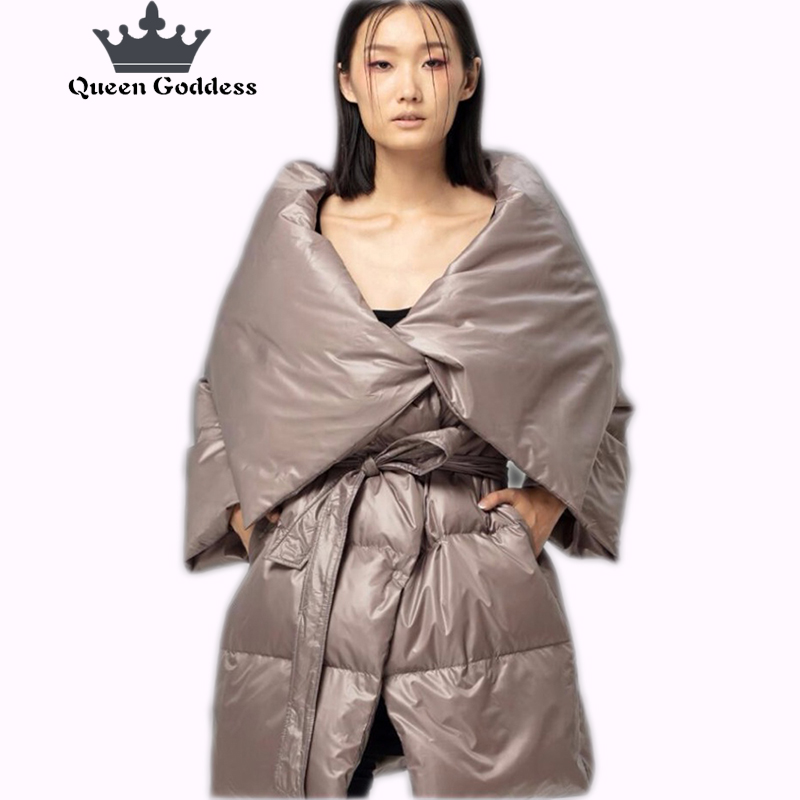Original design of the winter new character female 90% white duck down the long style of the down jacket special collar collect