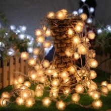 Купить с кэшбэком 220V  Eu Plug 100LED 10M  LED Strings Snow Ball Pompon led Christmas Light /Wedding Party Decoration String Lights