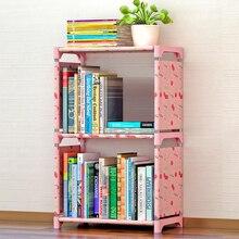 Moda simples não tecido estantes de duas camadas dormitório quarto prateleiras de armazenamento estante de montagem infantil estante