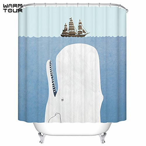 Charmant WARM TOUR Whale U0026 Sail Design Fabric Shower Curtain Waterproof Polyester  Bath Curtain Hospital U0026 Hotel
