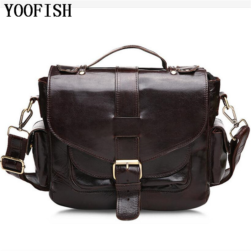 YOOFISH  New  Mens  Genuine Leather Shoulder Bag Satchel Genuine Cowhide Leather Messenger Bags Travel bag    LJ-881YOOFISH  New  Mens  Genuine Leather Shoulder Bag Satchel Genuine Cowhide Leather Messenger Bags Travel bag    LJ-881