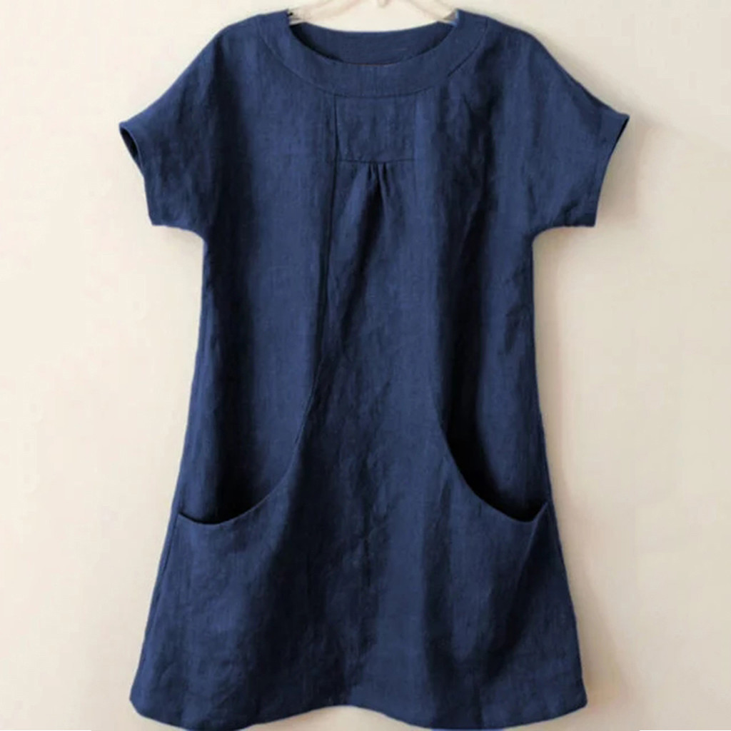 Women Casual Pocket   Shirts   Ladies Causal Round Neck Short Sleeve Linen And Cotton Loose Pocket Tops   Blouse     Shirt   blusas feminina