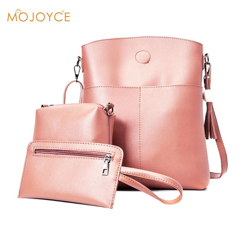 3pcs Women Simple PU Leather Shoulder Crossbody Bag Female Fashion Messenger Bag Handbag Card Purse Bag Set Bolsa 3Sets Mini Bag  fun fashion personality disposable leather pu leather chain shoulder bag handbag female crossbody mini messenger bag purse
