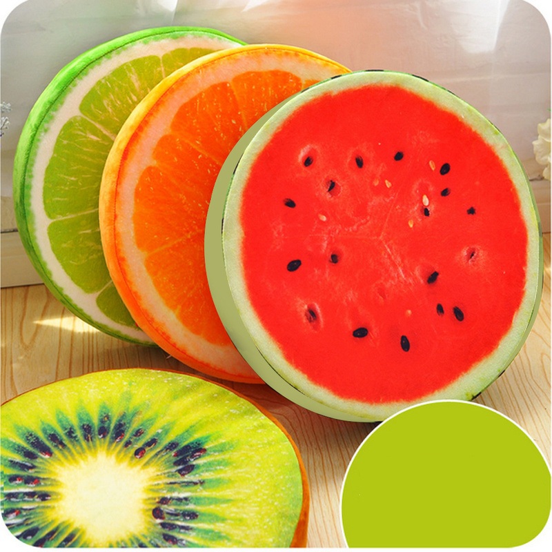 3D Fruit Round Seat Cushion Throw Pillow Home Office Sofa Chair Car Seat Pads W