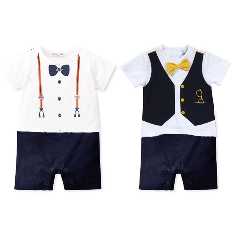 Wholesale Summer Newborn baby romper suit kids boys girls rompers body summer short-sleeve Tie suit