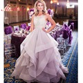 Real Sexy Backless Luxo Strass Vestido De Noite De Cristal 2017 Luz Roxo Ruffles Prom Vestidos Vestido De Festa Longo E18
