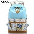 XQXA Canvas Floral Printing Satchel Rucksack Backpacks School Bags for Girls Female Mochila Escolar Printing Backpack School