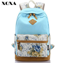 XQXA Canvas Floral Printing Satchel Rucksack Backpacks School Bags for Girls Female Mochila Escolar Printing Backpack