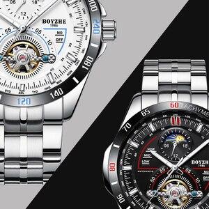 Image 3 - BOYZHE hommes automatique mécanique haut tendance marque montres de sport de luxe Tourbillon Phase de lune en acier inoxydable montre horloge saat