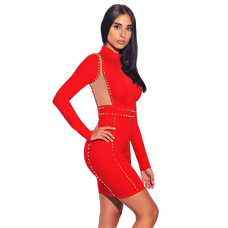 neck bandage stretch mesh item in s drop party long ship dresses winter detail new bodycon mini dress high red stud gold women sleeve crepe prom from