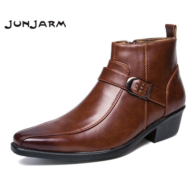 JUNJARM British Retro Men Boots Microfiber Black Men Motorcycle Boots 2017 Casual Shoes Male Fashion Buckle Quality Zapatillas
