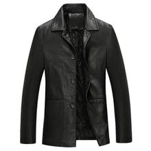 Winter 2016 Brand New Men Leather Jacket Lapel Men Thickening Male Locomotive Leather Coat Classic Men's Leather Jacket