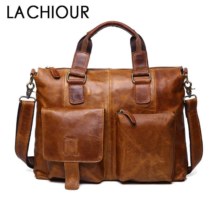 Real Genuine leather Men Designer Handbags Vintage Laptop Briefcases Office Shoulder Bags Tote Male Crossbody Messenger