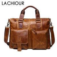 Real Genuine leather Men Designer Handbags Vintage Laptop Briefcases Office Shoulder Bags Tote Male Crossbody Messenger Bags