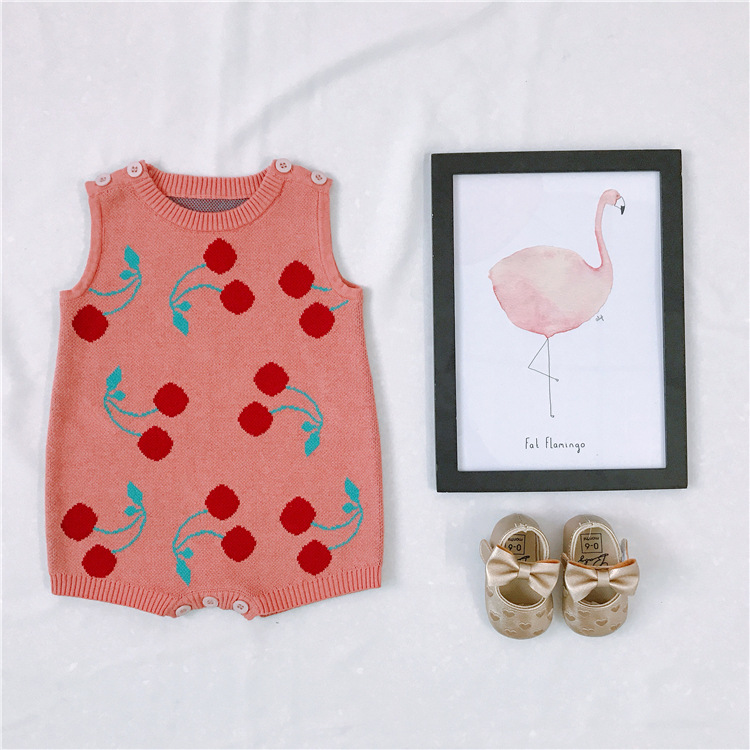 Knitted Overalls Newborn Cherry Pattern Sleeveless Clothes 100% Cotton Pink Color Boys And Girls Lovely Romper Toddler Jumpsuit пуф dreambag круг cherry