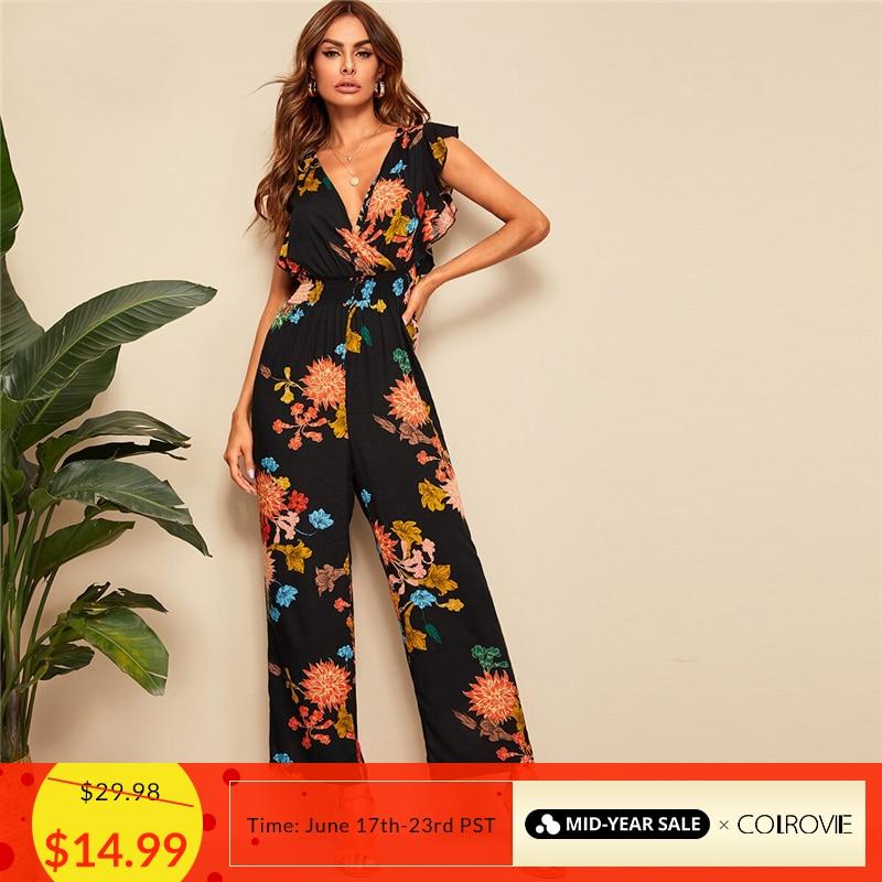 COLROVIE V Neck Surplice Wrap Ruffle Trim Botanical Print Boho   Jumpsuit   Women 2019 Summer Holiday Shirred Sexy   Jumpsuits