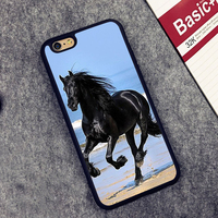 Black Racing horse Printed Soft Rubber Mobile Phone Cases Accessories For iPhone 6 6S Plus 7 7 Plus 5 5S 5C SE 4 4S Cover Shell
